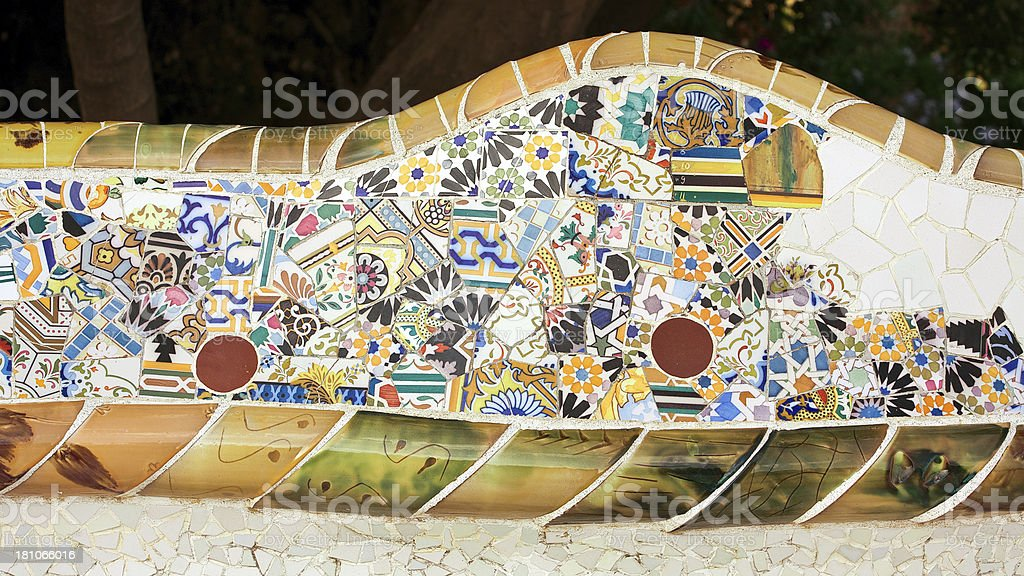 Close-up of ceramics in Parc Guell. Barcelona-Spain. stock photo
