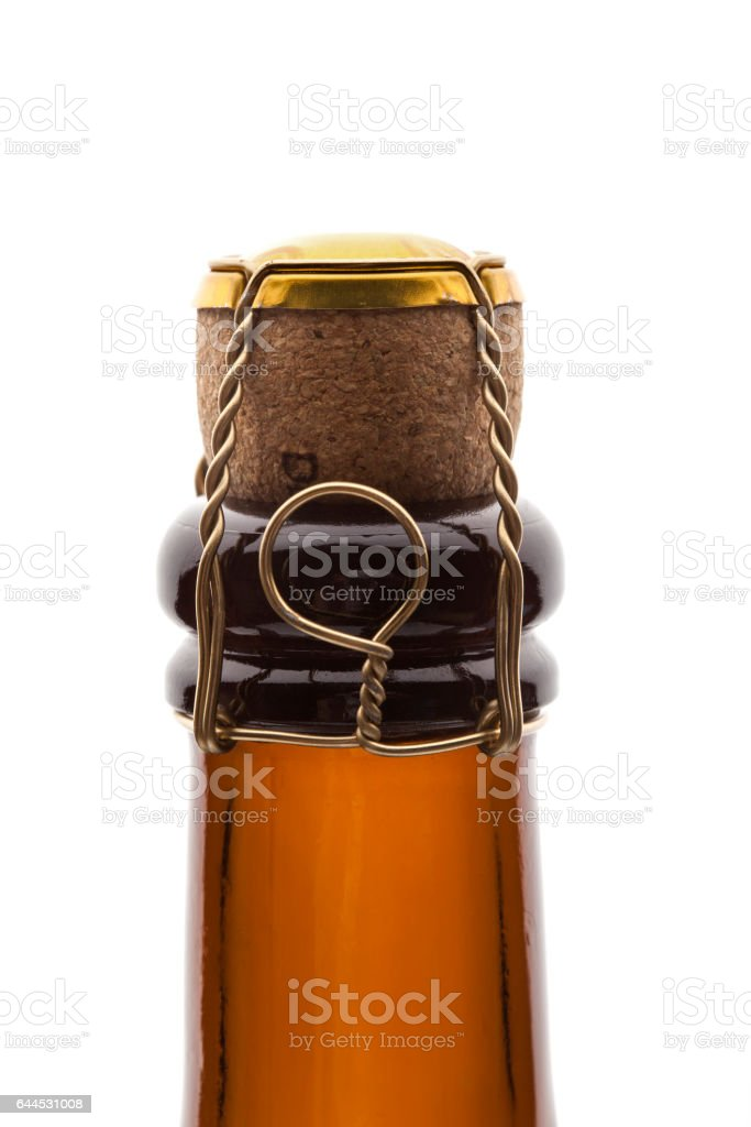 Closeup of champagne bottle and cork stock photo