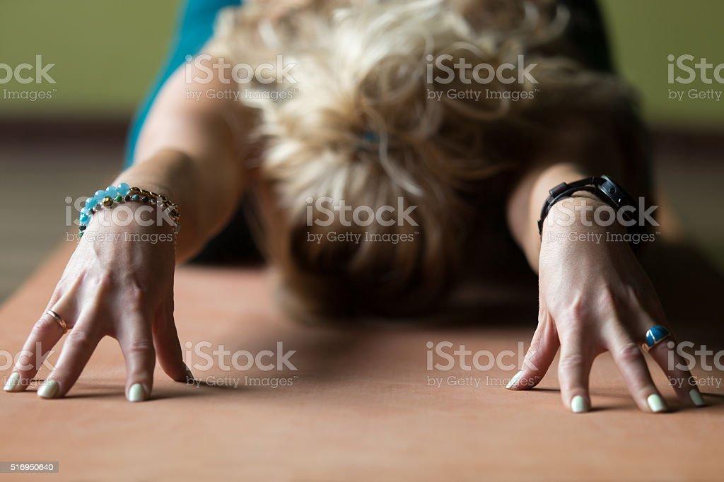 Close-up of Child yoga Pose stock photo