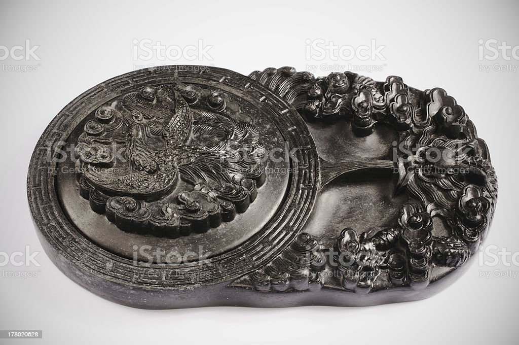 Closeup of Chinese inkstone stock photo