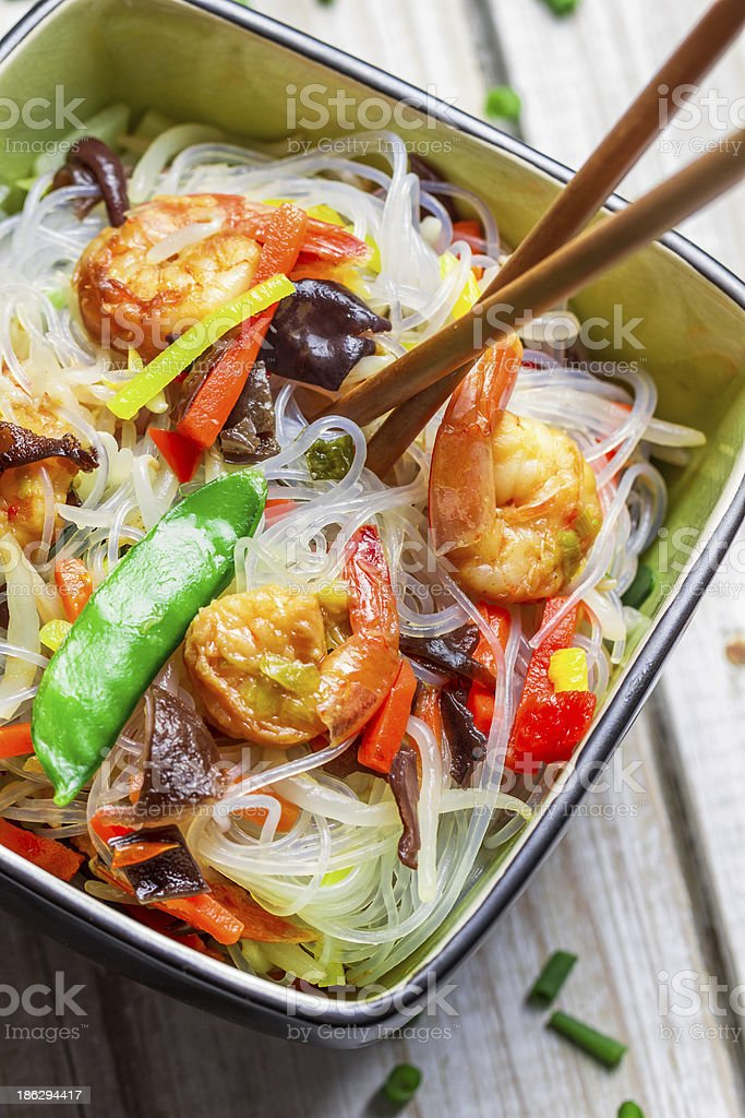Closeup of chinese mix vegetables and rice noodles royalty-free stock photo