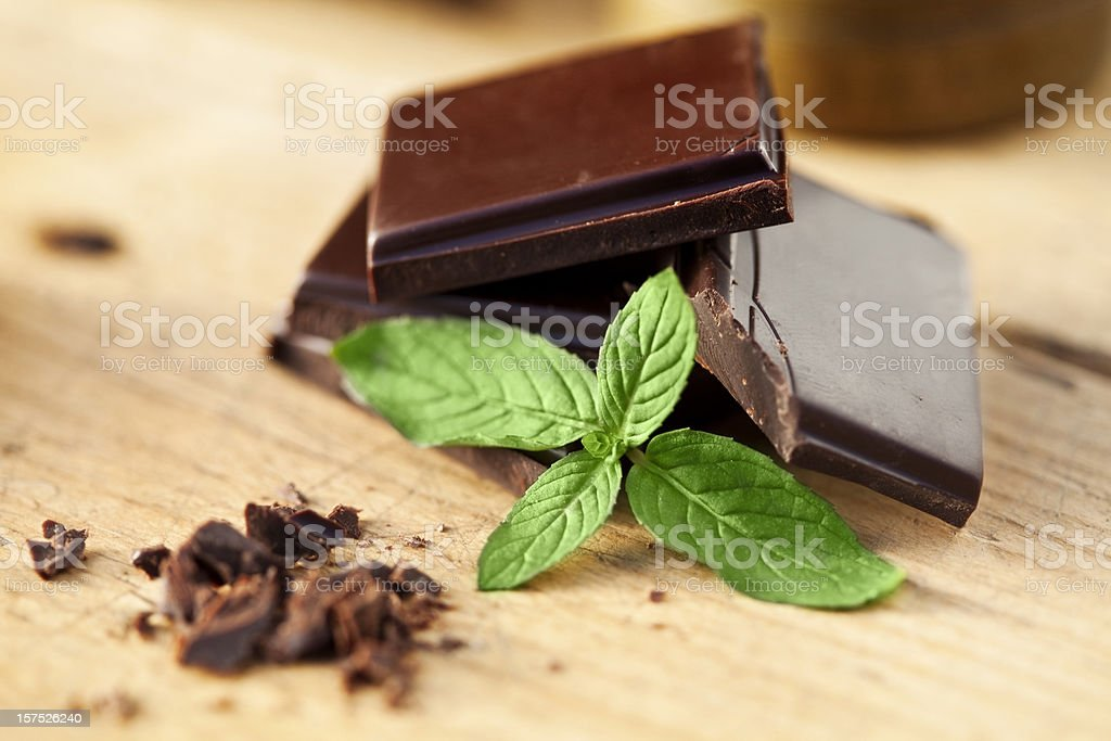 Close-up of chocolate and mint garnish stock photo