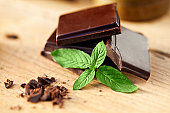 Close-up of chocolate and mint garnish