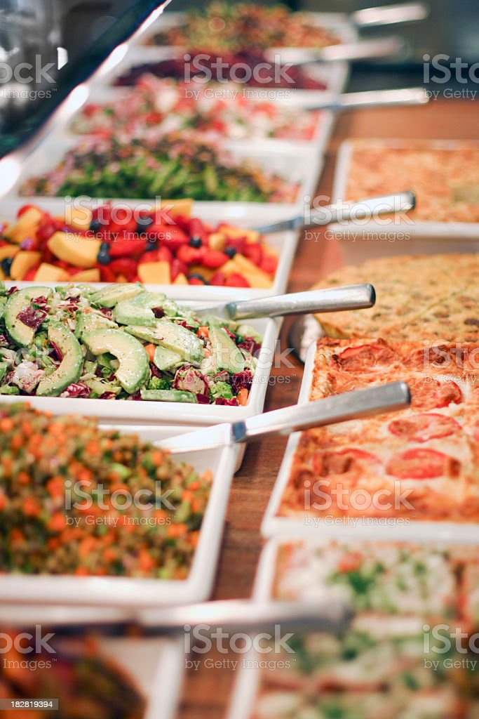 Close-up of choices at a gourmet salad bar stock photo