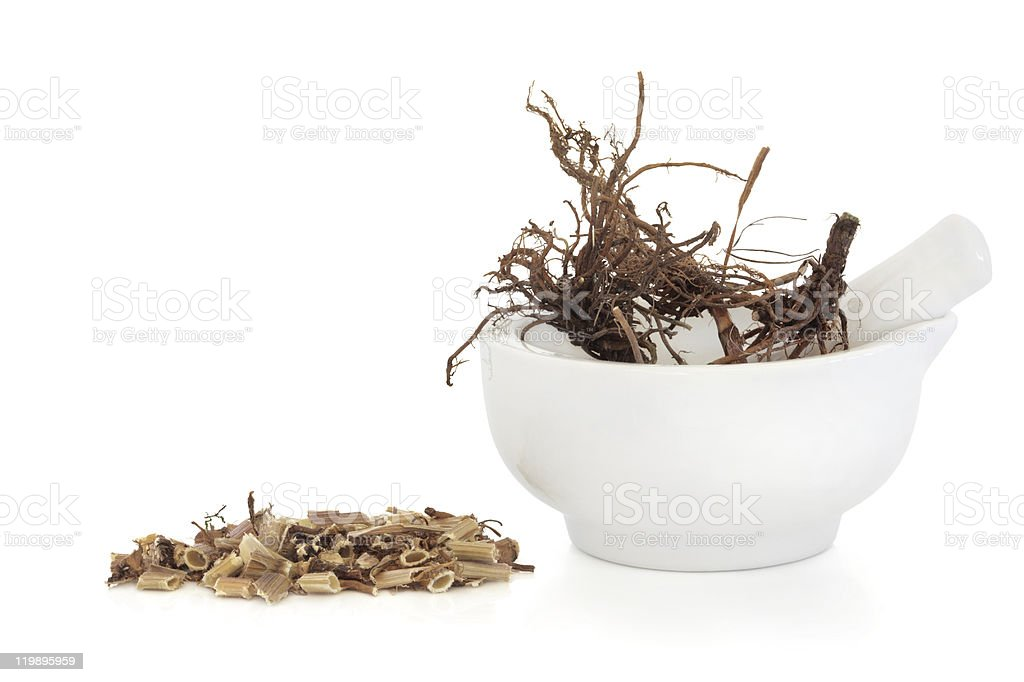 Close-up of chopped and whole valerian in bowl stock photo