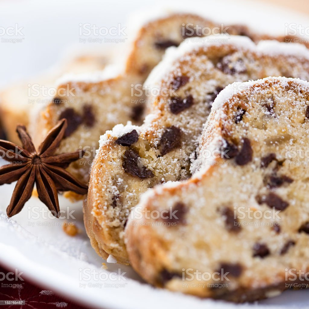 A close-up of Christmas Stollen stock photo