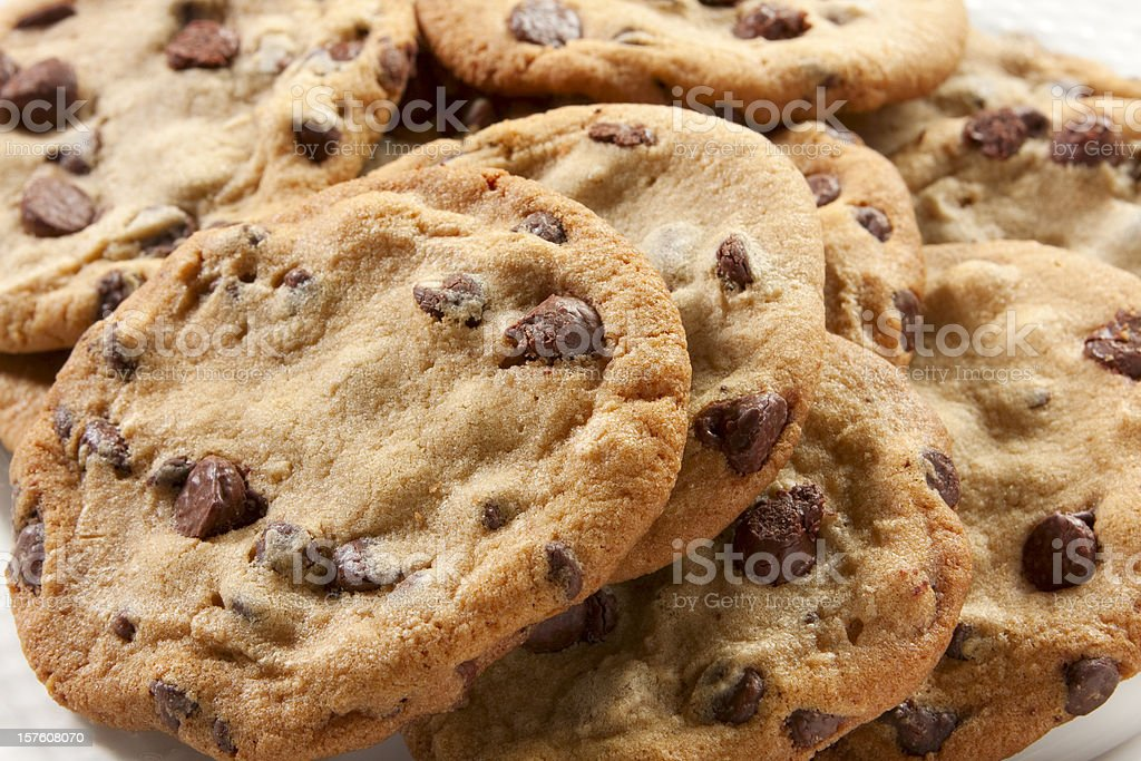 A close-up of chunky chocolate chip cookies stock photo