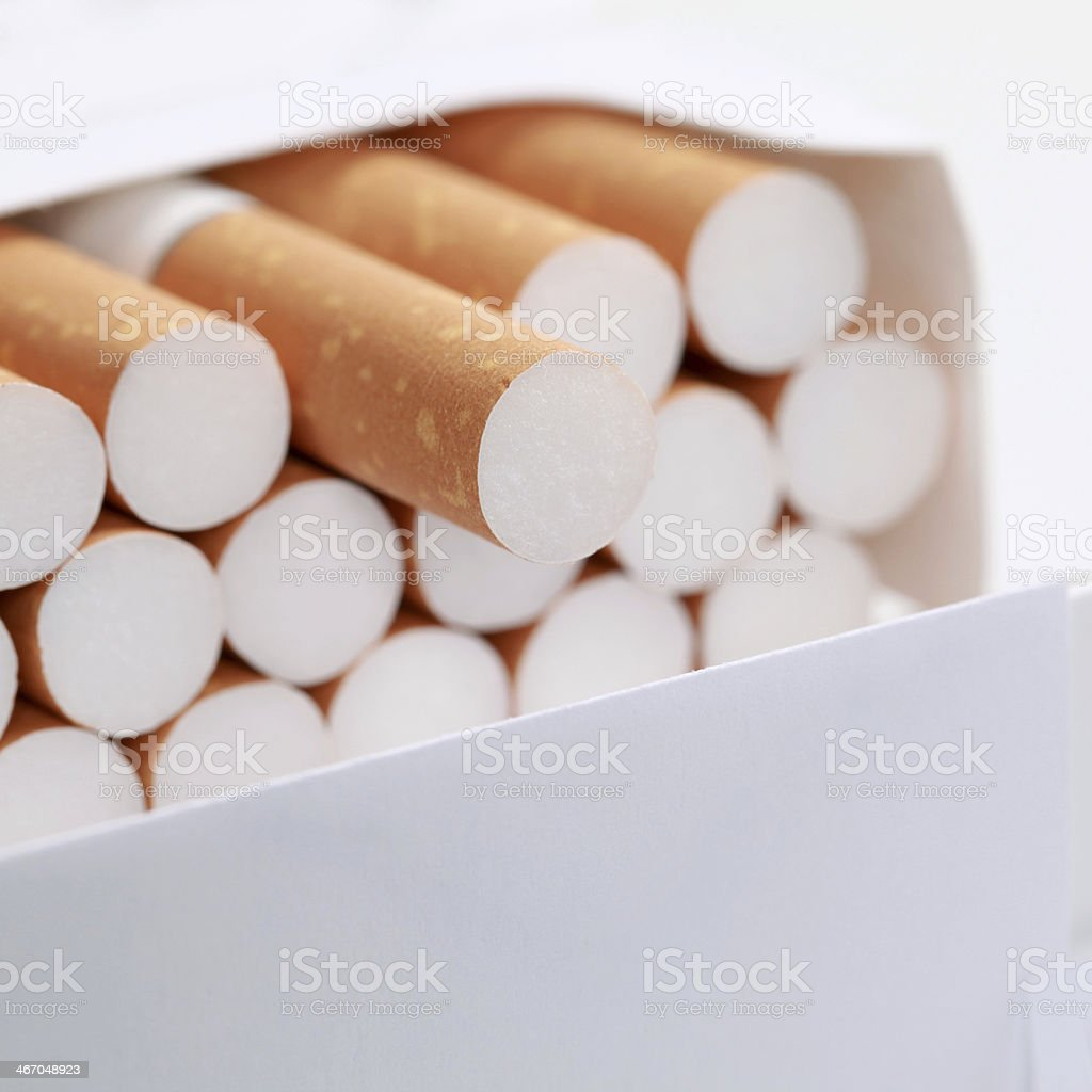 Closeup of cigarettes royalty-free stock photo