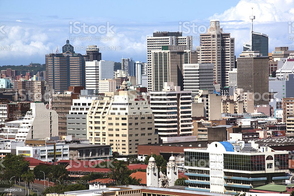 Closeup of City Center Buildings in Durban stock photo