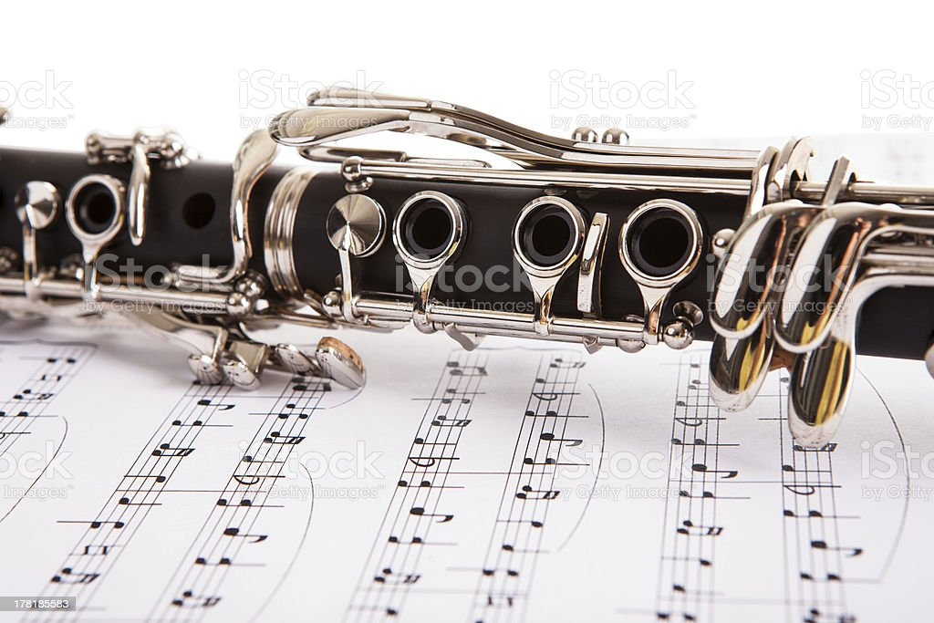 Close-up Of Clarinet And Musical Notes stock photo