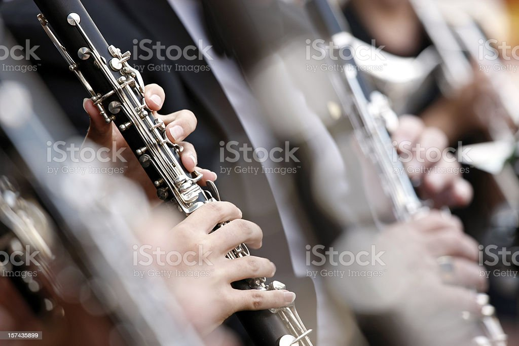 Close-up of clarinet played in orchestra with shallow DOF stock photo