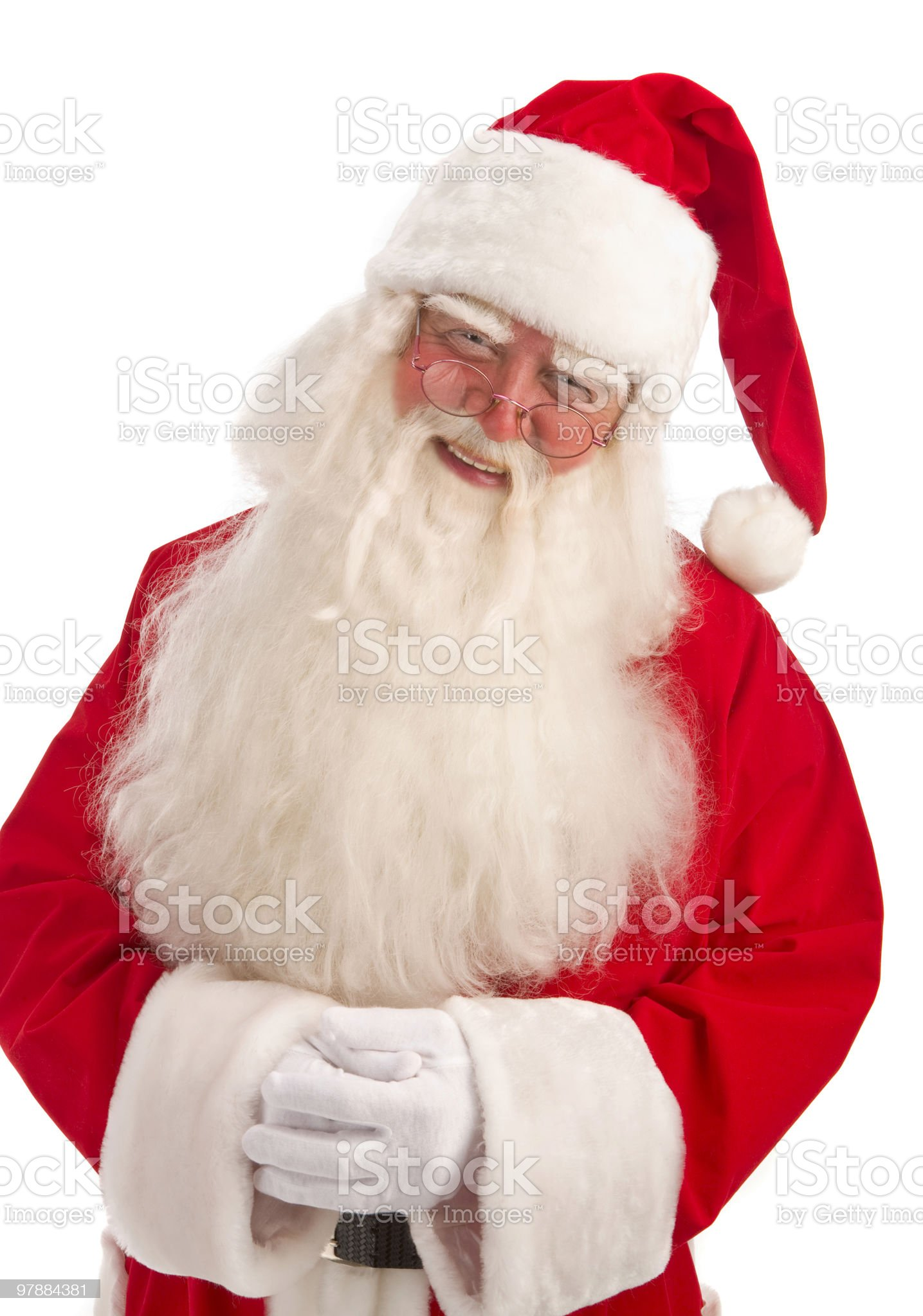 Close-up of classic Santa standing on the white background. royalty-free stock photo