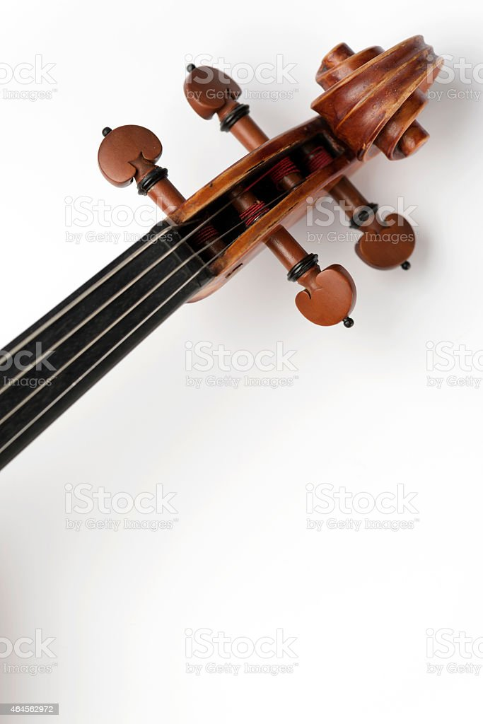 Close-up of Classical Violin, Viola on White Background stock photo
