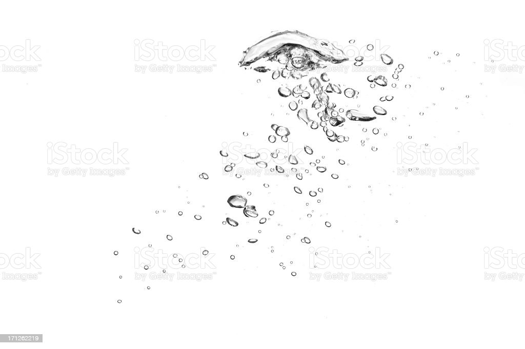 Close-up of clear water bubbles in white background stock photo