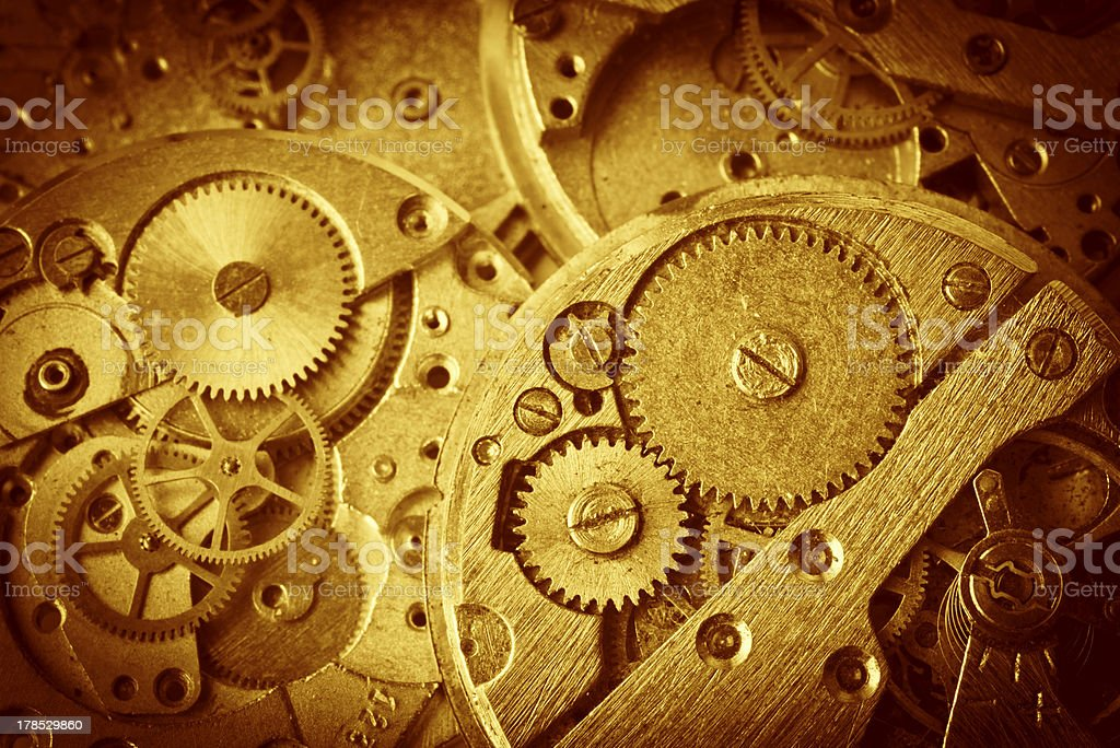 Close-up of clock mechanism with gears royalty-free stock photo