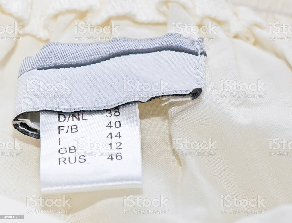 close-up of clothing label royalty-free stock photo