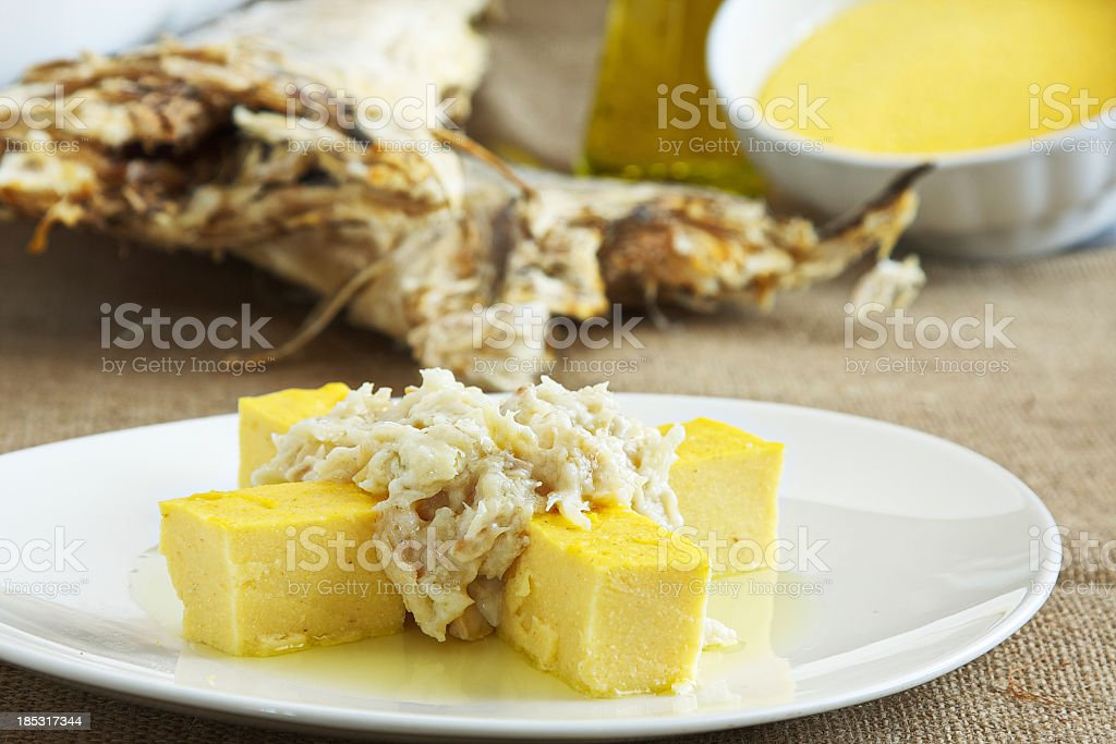 Close-up of cod dish, Baccala alla Vicentina stock photo