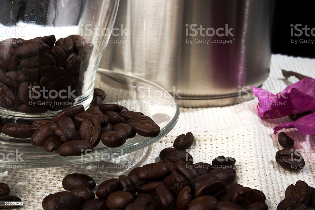 Close-up of coffee beans in transparent cup stock photo