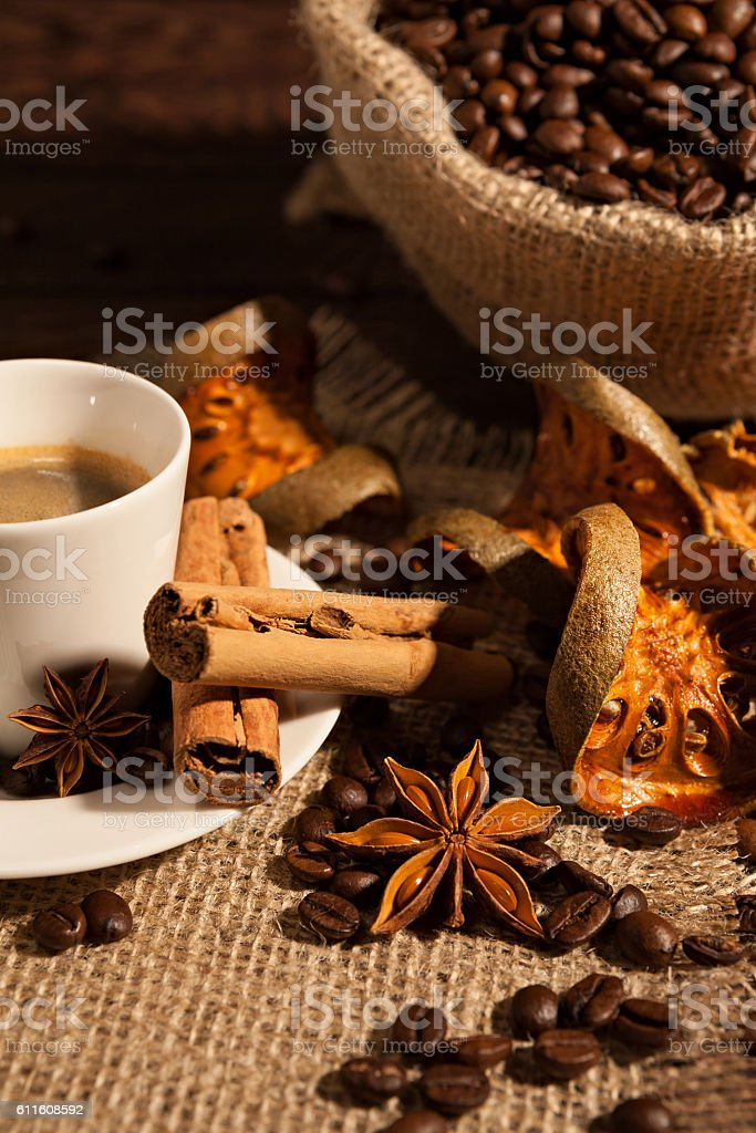 Close-up of coffee cup with cinnamon and star anise stock photo