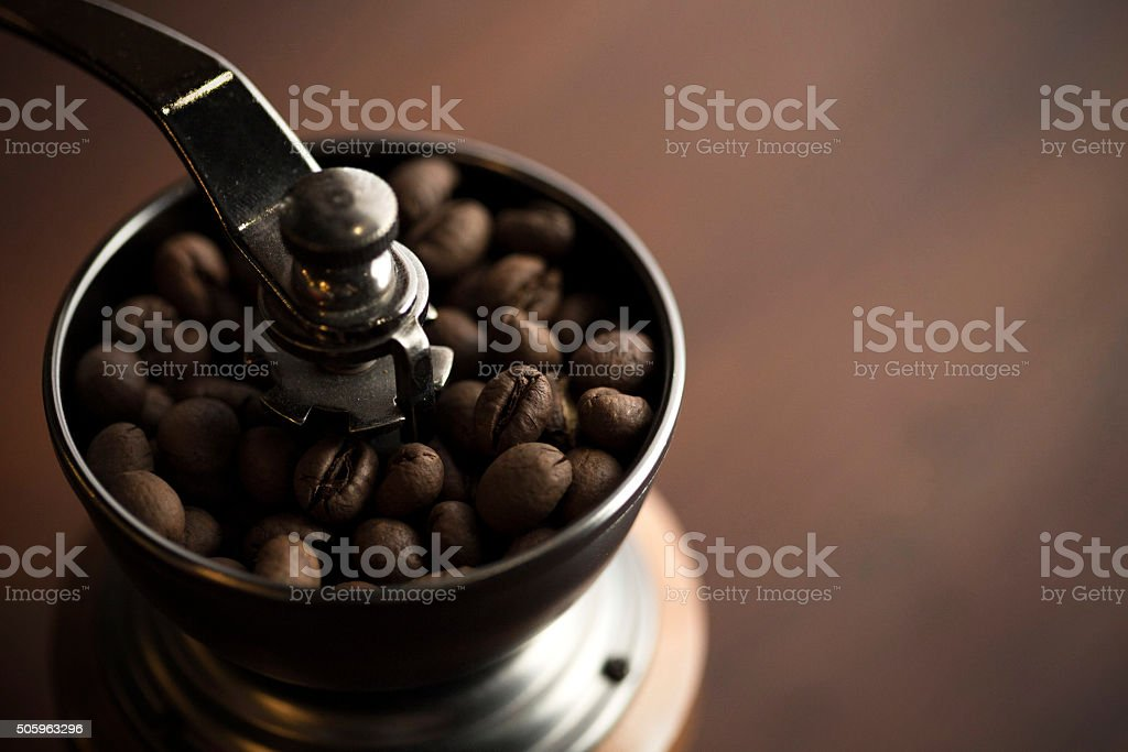 Close-up of coffee grinder stock photo