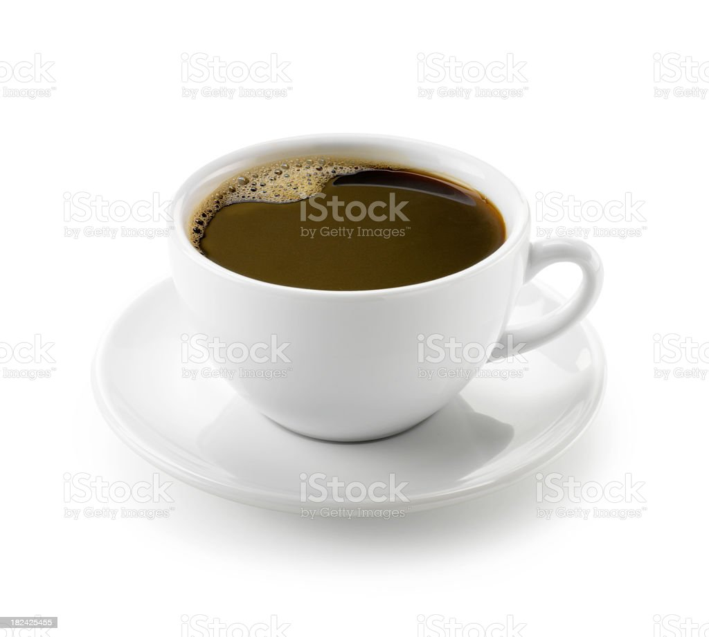 Closeup of coffee in white mug on saucer on white background stock photo