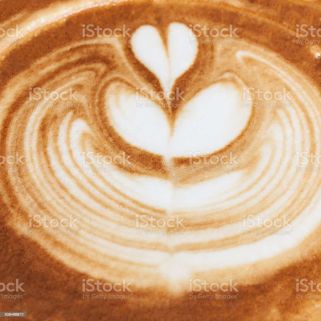 closeup of coffee latte pattern, time already been enjoy coffee stock photo