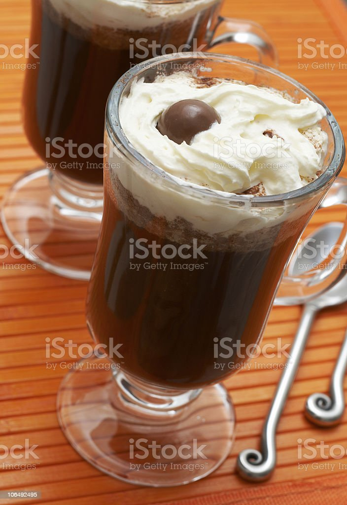 Closeup of coffee with cream royalty-free stock photo