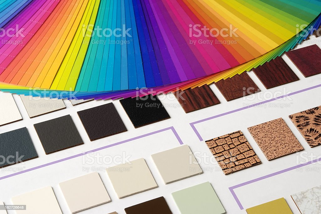 Close-up of color swatch and decorating samples royalty-free stock photo