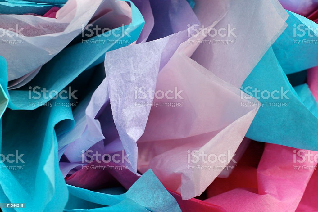 Close-up of colored tissue paper for gift wrapping stock photo