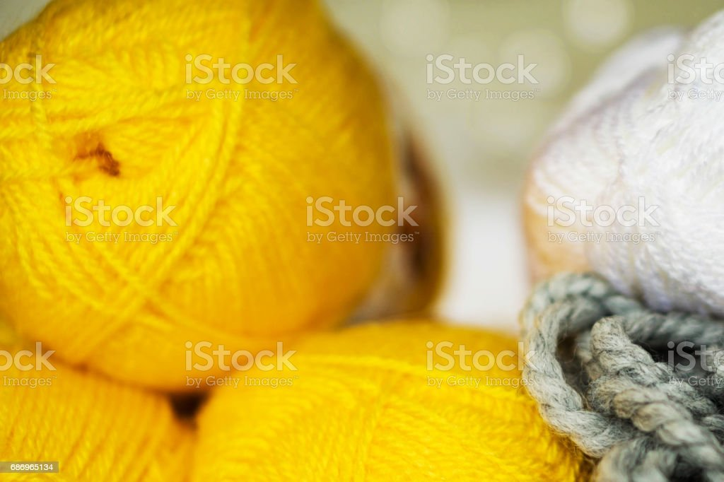Closeup of colored yarn for knitting stock photo