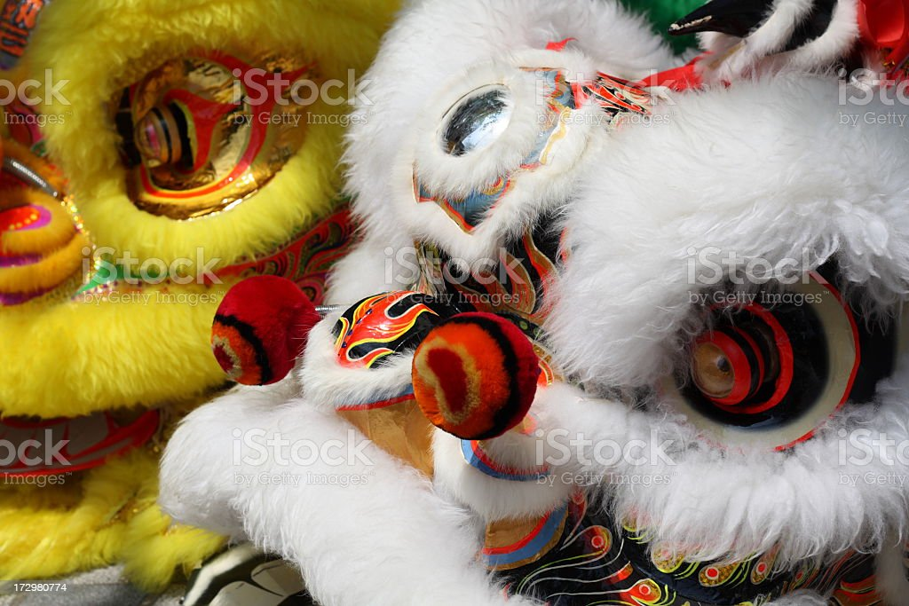 Close-up of colorful Chinese lion dance costumes stock photo