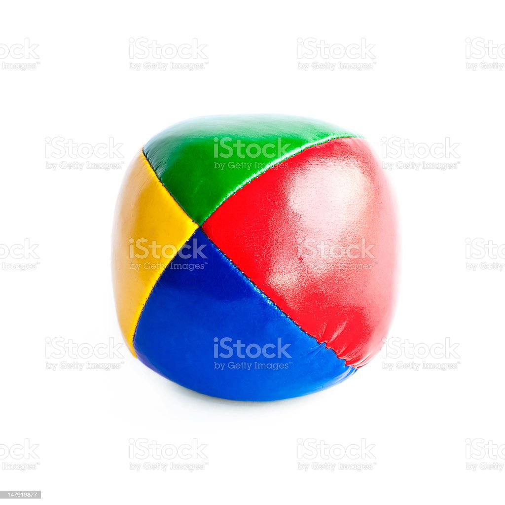 Close-up of colorful juggling ball isolated on white background stock photo