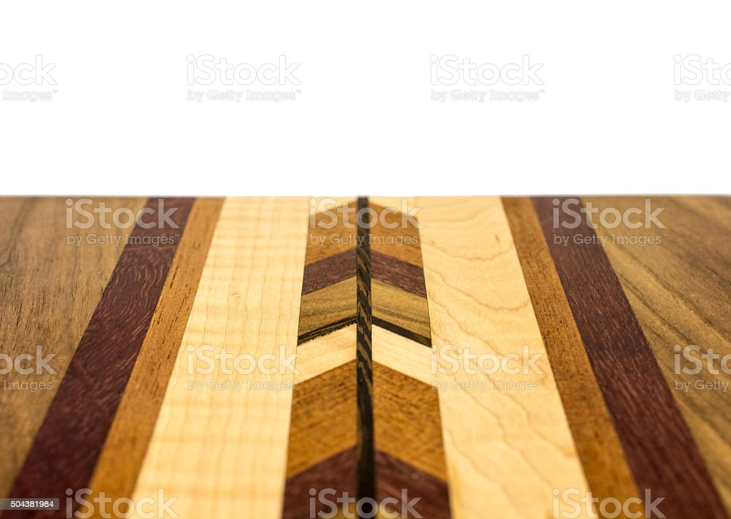 Close-up of colorful laminated wood table with clipping path stock photo