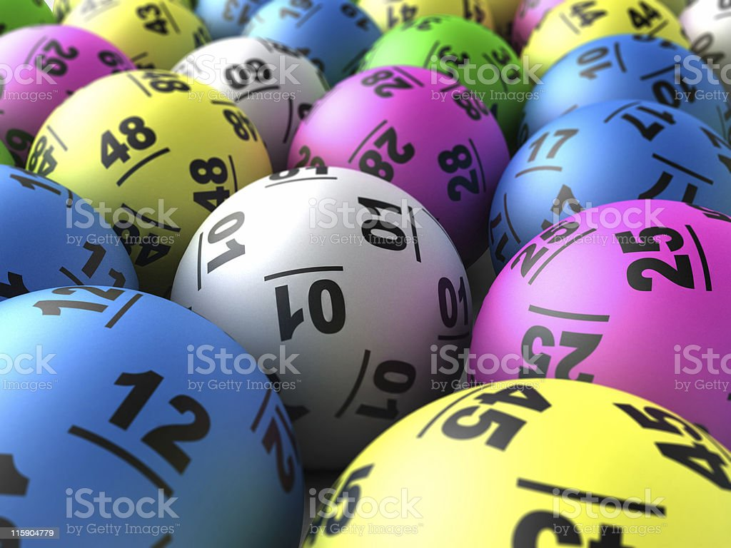 Close-up of colorful lottery balls stock photo