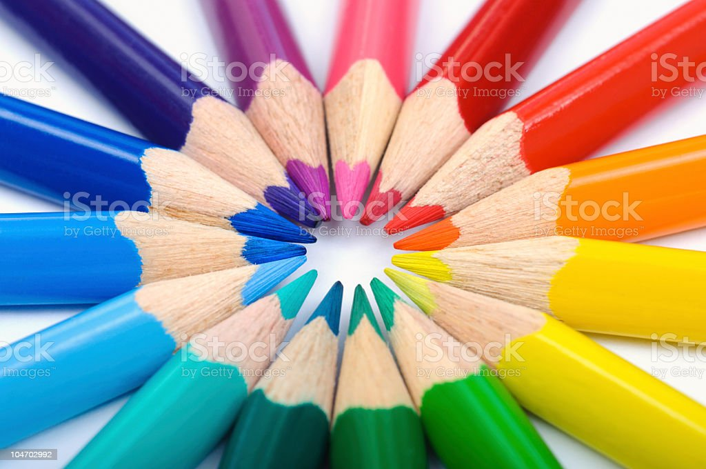 Closeup of colour pencils in circle royalty-free stock photo