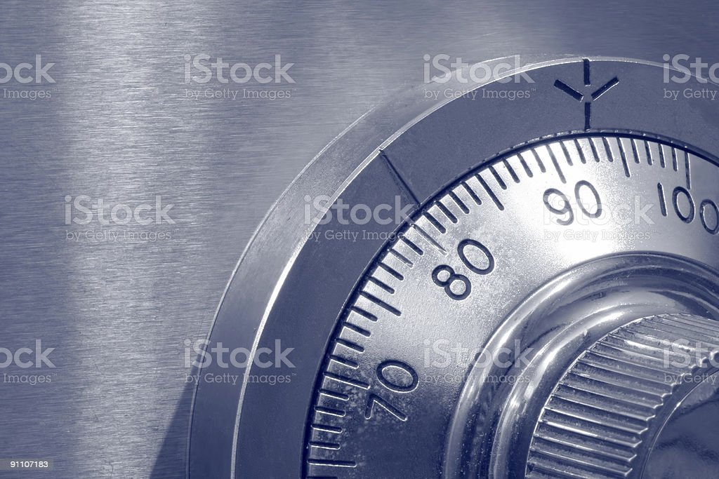 Closeup of Combination Safe Lock stock photo