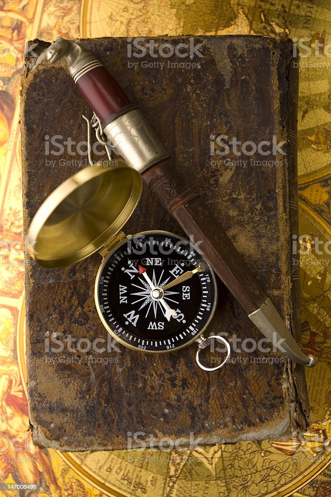 Close-up of compass royalty-free stock photo