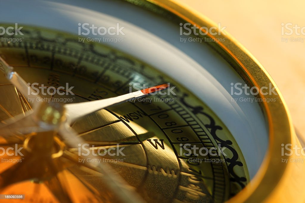 Closeup of compass with shallow depth of field stock photo