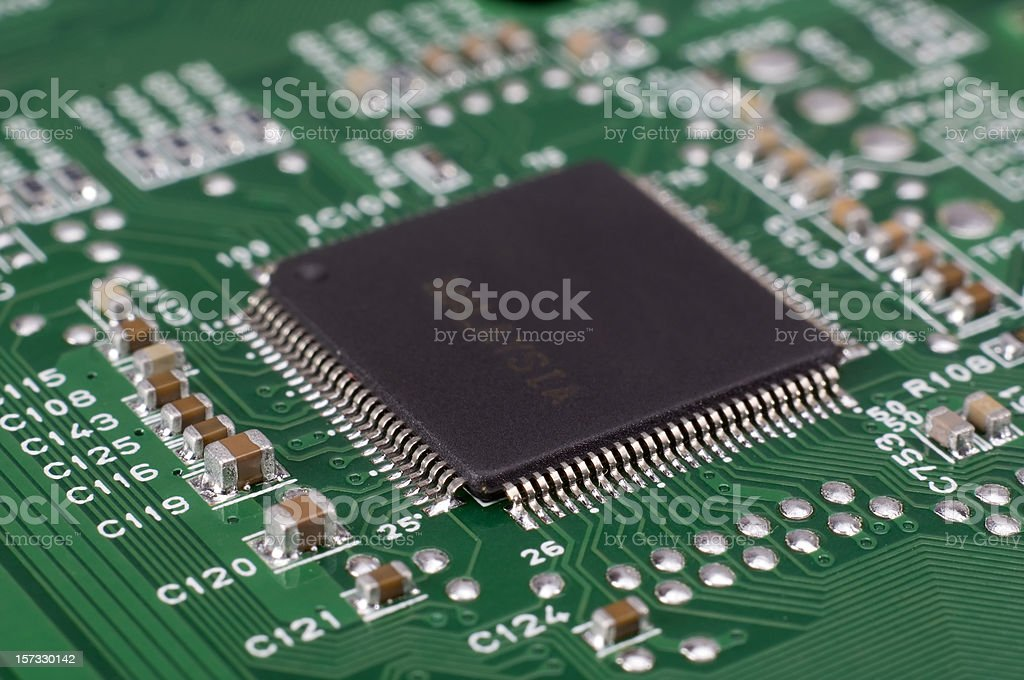 Close-up of Computer Chip CPU stock photo