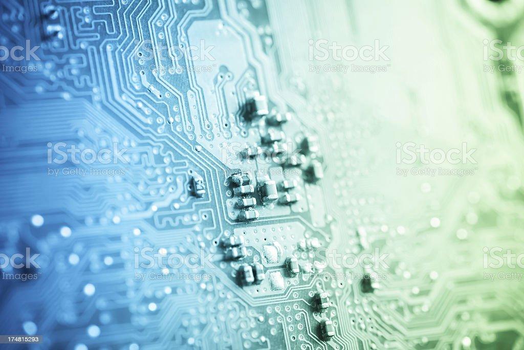 Closeup of computer circuit board royalty-free stock photo