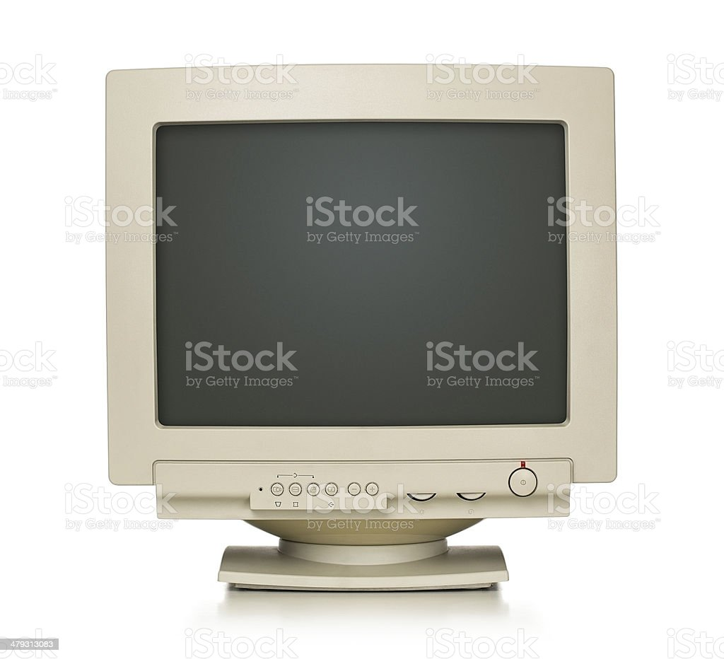Closeup of computer monitor on white background stock photo