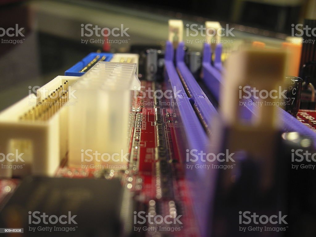 Closeup of computer motherboard stock photo