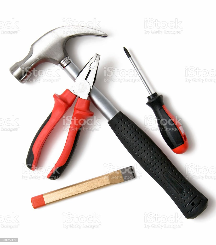 A close-up of construction tools stock photo