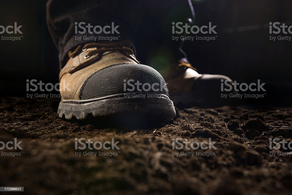 Close-up of construction work boots stock photo