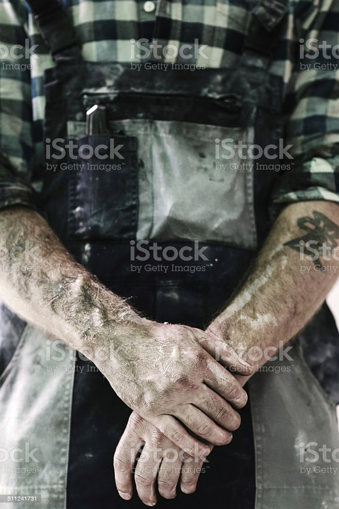Close-up of Construction worker's Hands stock photo