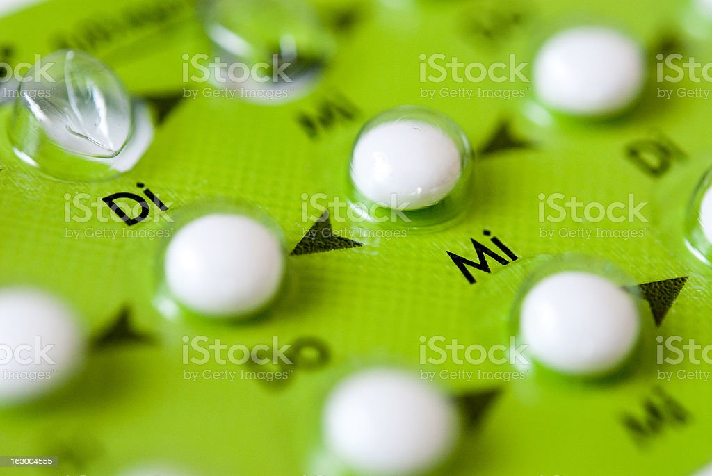 Close-up of contraceptive in pill form stock photo