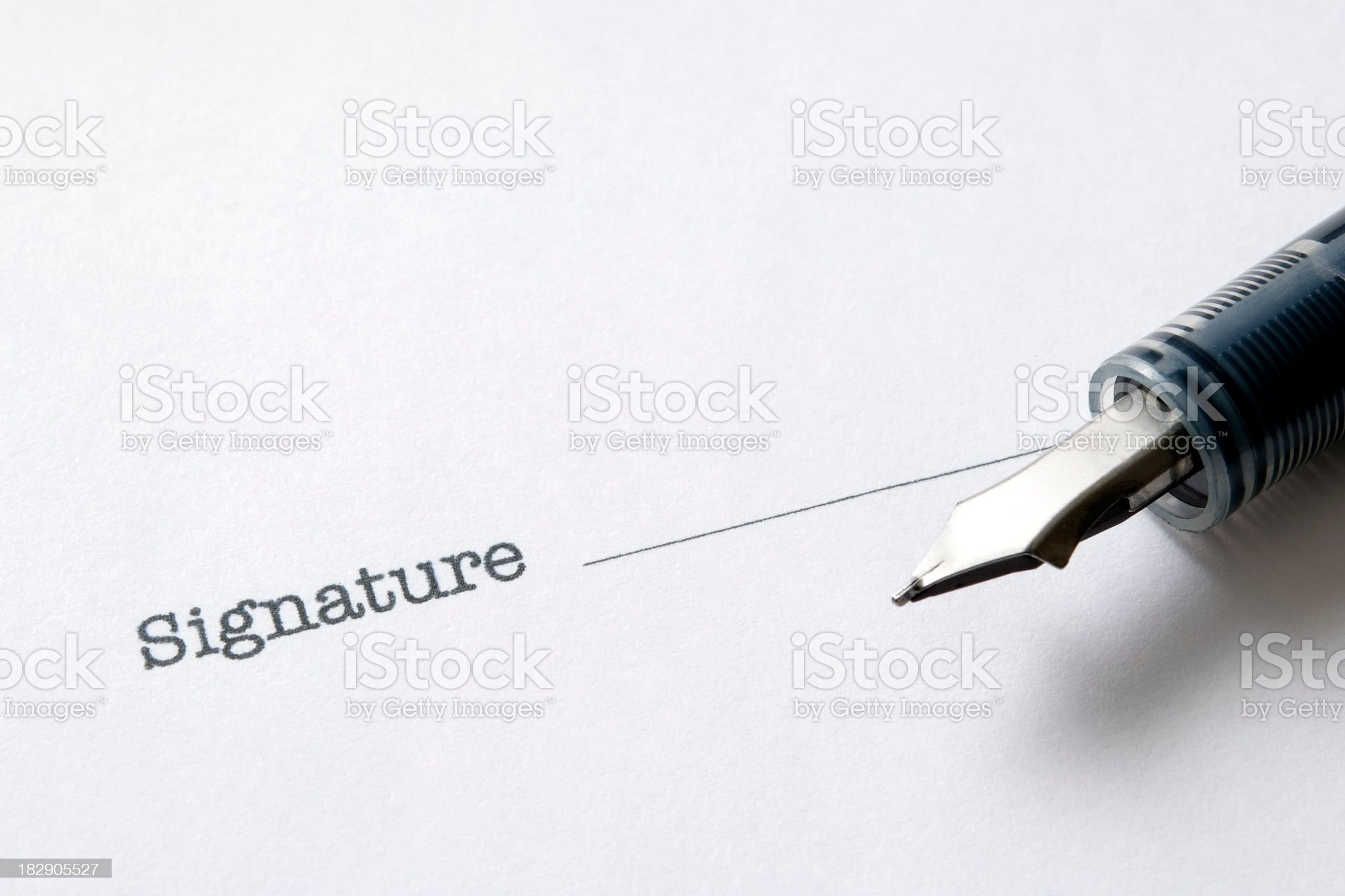 Close-up of Contract form with fountain pen royalty-free stock photo