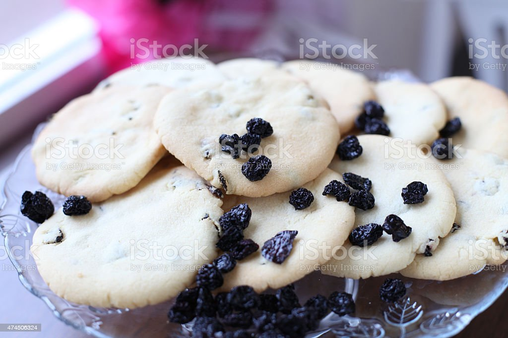 Close-up of cookies with raisins stock photo