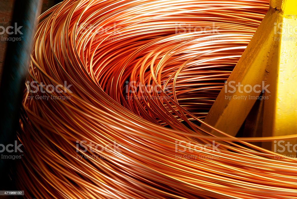 Closeup of Copper Cable being Rolled up stock photo