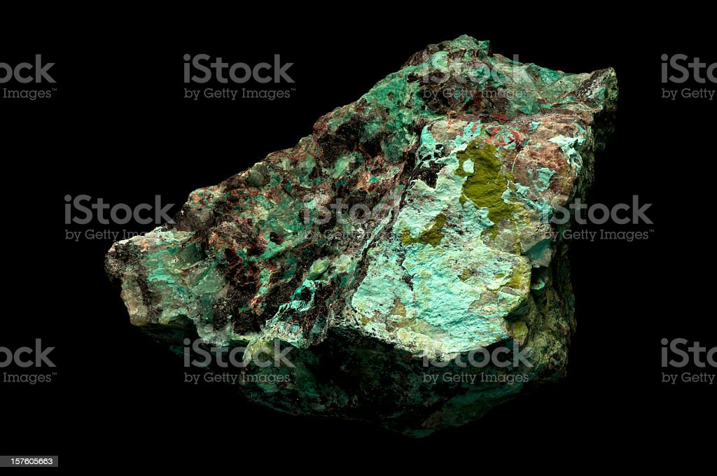 Close-up of copper ore from mine stock photo